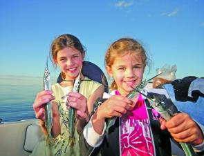 When garfish are in numbers, kids can have a very exciting time.