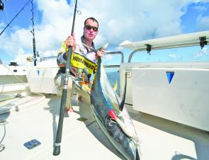 The author with 40kg of popper-munching yellowfin tuna caught out wide on RU4REEL Charters.