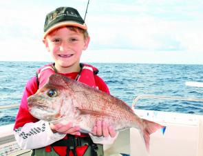 Jacob Stella, 6, bagged this snapper from the 30-fathom line. There should still be good reds around this month.