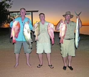 Some great catches from Sweers Island and a great sunset to boot. From right: red emperor, black jew, coral trout, two nannygais and a Spanish mackerel.