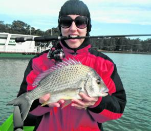 Caroline with a cracking bream that hammered her Damiki soft plastic on the last cast of the day.