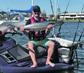 Scott Jarret with a nice mackerel taken on his jet ski recently.