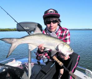 Luke Vella regularly catches blue salmon on lures in the creeks around Mackay.