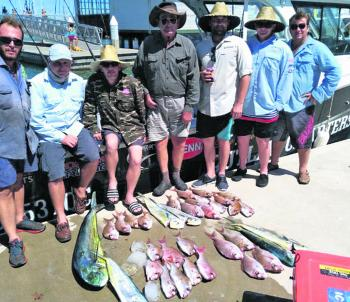 Anglers on charter achieved this nice mixed bag of juvenile snapper and mahimahi.