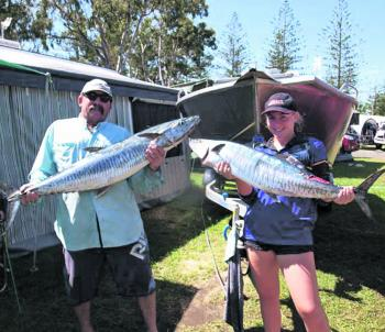 The author and his daughter Kirsten with two quality Spanish mackerel caught on Palm Beach.