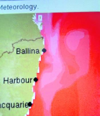 This picture explains why the mackerel are down south. The red indicates temperatures of 30°C and the white indicates above 30°C temperatures.