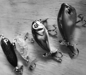 Some of the author's favourite topwater lures at the moment, from left: Crazy Fizzer, Megabass Baby Griffon Zero, Bassday Bubble Crank and Bassday Bustle.