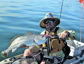 Dom Perrone with a nice Lake Mac mulloway that couldn't resist his soft plastic smeared in the new UV Dizzy Scent.