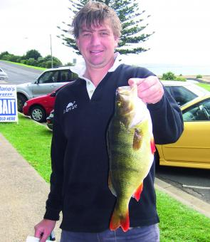 Nigel Stephens with a 2.2kg redfin from a local Portland river.