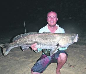 Justin Stephenson's 12kg beach mulloway could not resist a fresh squid.