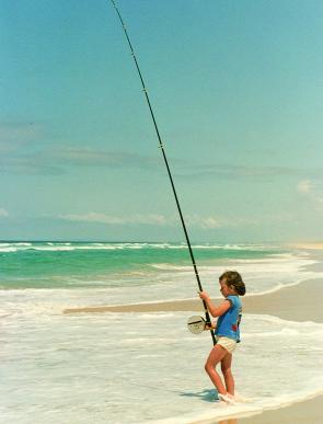 As Kim says, she has always fished. This photo shows her beach fishing in Queensland when she was 6 years old.