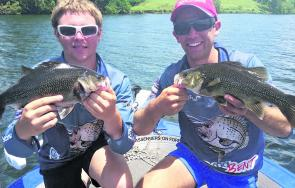 Ryan and Casey showing the results of a double hookup on spinnerbaits in the Greenhill area.