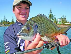 This bream inhaled an Atomic Semi Hardz minnow twitched to imitate a baitfish.