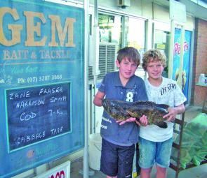 Big 7kg estuary cod can be quite a handful as Zane and Harrison found out.