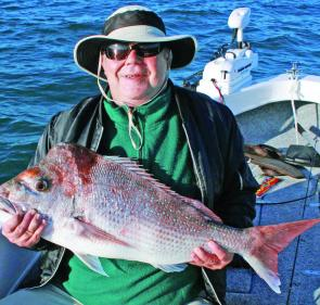 "Frank Waite caught this 90cm snapper on a 5"" Nuclear Chicken Gulp."