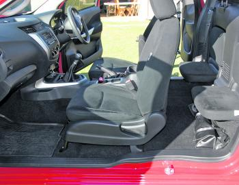 The King Cab's rear seating is actually reasonably comfortable, with some padding and air vents. With seats folded, it's a great place to store valuable items out of the harm's way.