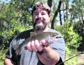 A small rainbow trout caught on a Strike Tiger nymph soft plastic in a Kiewa River tributary in autumn last year.