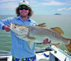 Jarryd Knickel with one of two big barra caught trolling in late October.