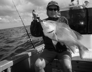 Des Bennet with a great red emperor taken using fresh fish fillet for bait.