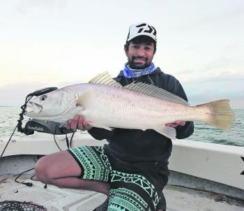 "The author with a mulloway taken on a 3"" ZMan MinnowZ from the Peel Artificial Reef."