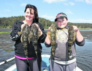 Tom, 12 and mum Gabby had a great morning catching flatties, scoring 46 fish and keeping four for the pan.