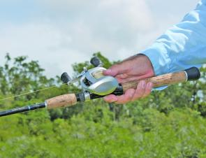 It's important to have your rod and reel sit comfortably in your hand. Most anglers tends to hold the rod on a slight angle like this. If you imagine you are shaking hands with your outfit, then you will find a natural angle and this is how you should cas