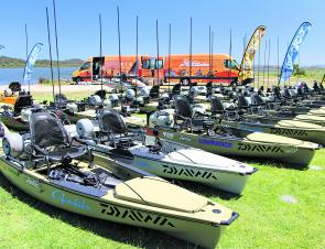 The entire field fished from Hobie factory-supplied Power Pole, Lowrance and Ram Mount fitted out Hobie Pro Angler 14 kayaks.