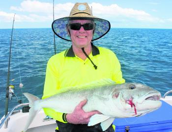 Customer Gordon who won the brutal fight with this green jobfish on the reef.