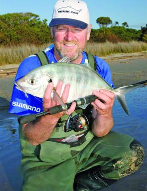 Top St Helens guide Michael Hayley with a huge silver trevally.