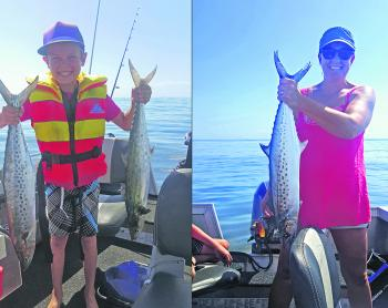 Young Tom Vale and his mum Jo got in amongst the spotted mackerel at Halls Reef on Sunday morning.