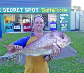 Jason Large caught this snapper at the Pinnacles.
