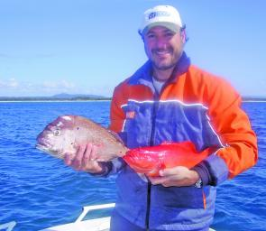 Cooroy angler Rob James with a catch of snapper and trout from Sunshine Reef.