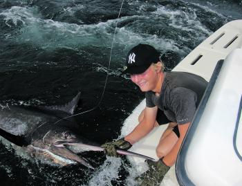Zane Levett was stoked to land this Sydney black marlin.