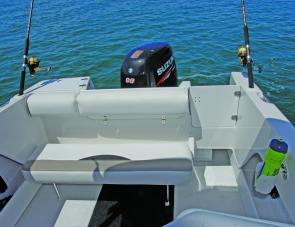 Stern features are shown here, the aft seat can be either totally removed or lowered to provide more fishing room.