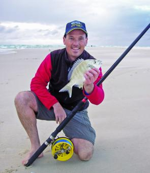 Bream are a popular and regular beach catch from Moreton Island. A light Alvey outfit will get you in the mix to tangle with some hard fighting and tasty bream from the suds.
