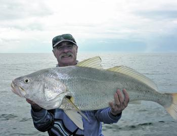 Alan 'Fish' Philliskirk with a big black jewfish.