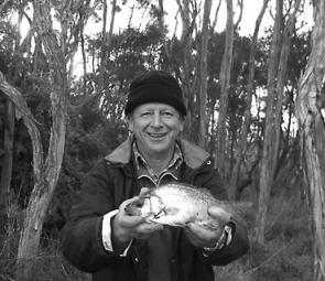 Wonthaggi angler Greg Beaumont with a 33cm estuary perch caught in the Tarwin River on bass yabbies.