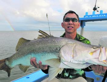 Tim from Singapore with one of three big fish caught while casting shallow divers.