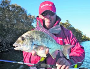 This winter bream was caught while fishing soft plastics along the coal wall and fell to an Ecogear Aqua Prawn.