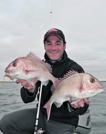The combination of an early start, overcast skies and a change in tide produced these pinkie snapper and many more for Aaron Hasset while casting Gulp soft plastics on the drift.