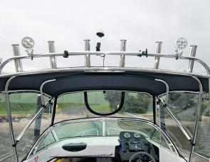 The stainless rocket launchers provide heaps of storage as well as two LED lights and a spot for the anchor light. There is also the bimini rest pole – a sensational addition.