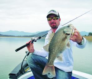 This Moogerah bass fell for a Jackall Squirrel fished by Chris Galligan.