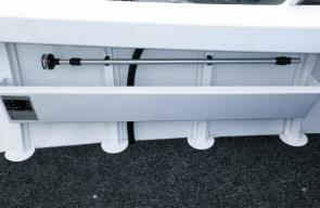 The anchor light is mounted at the starboard rear and is easily removable for storage above the starboard side pocket when not in use. Large foot plates ensuring sinkers and swivels can't get inside the hull and cause corrosion.
