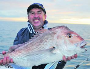 Fishing shallow is the key to finding big snapper. This bruiser was taken in 12m of water while the majority of anglers were fishing deep. It was released after the photo was taken.