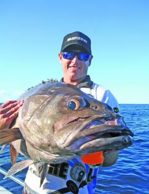 Deon Nourse with a large bass groper caught in 400m of water.