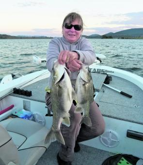 Denise Kampe with a brace of big bass from Lake Somerset.