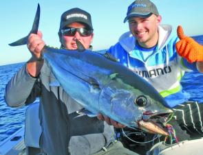 Hooked on Rods and Reels, Jesse Olle with a sensational surf caught school shark.
