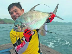 Rapala's Fred Goh shows off the quality of fish that Gomoku tackle can knock over.