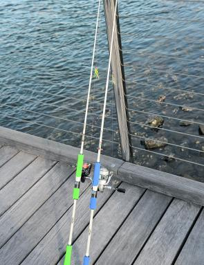 Gomoku rods are all white, with colour-coded grips relative to rod strength.