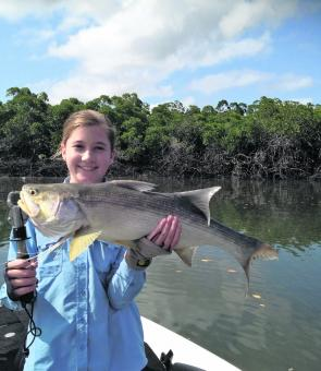 Lucy Harriman with threadfin salmon.